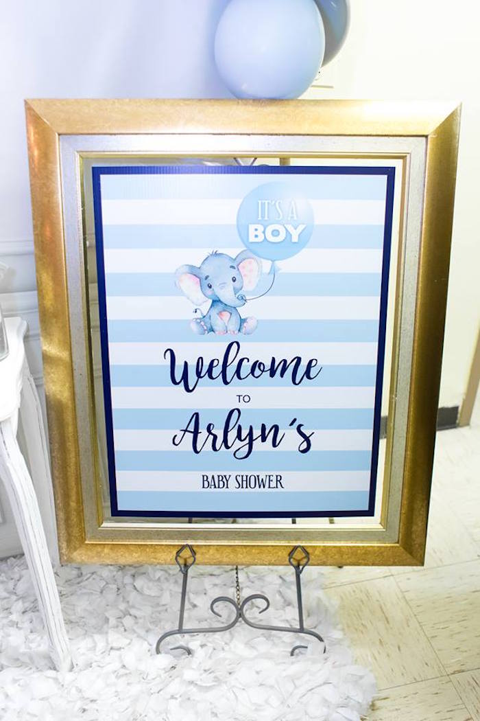 Blue Elephant Welcome Sign from a Silver & Blue Elephant Baby Shower on Kara's Party Ideas | KarasPartyIdeas.com (18)