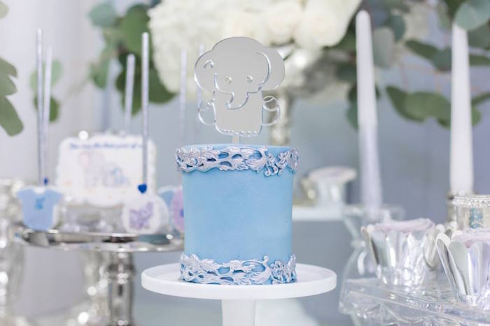 Elephant Cake from a Silver & Blue Elephant Baby Shower on Kara's Party Ideas | KarasPartyIdeas.com (17)