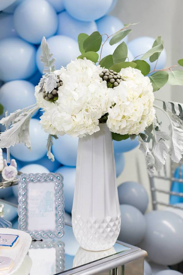 White Hydrangea Bloom from a Silver & Blue Elephant Baby Shower on Kara's Party Ideas | KarasPartyIdeas.com (16)