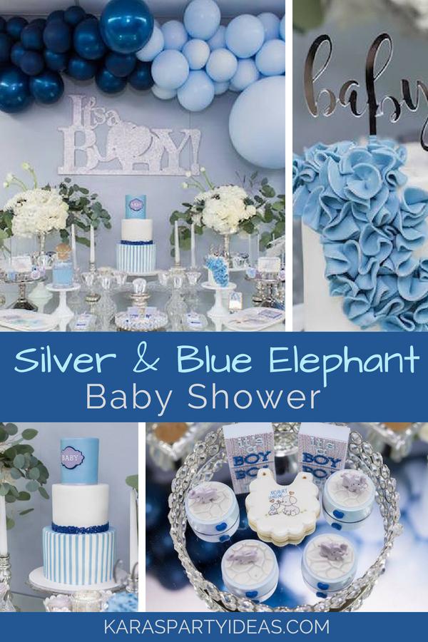 Silver _ Blue Elephant Baby Shower via KarasPartyIdeas - KarasPartyIdeas.com