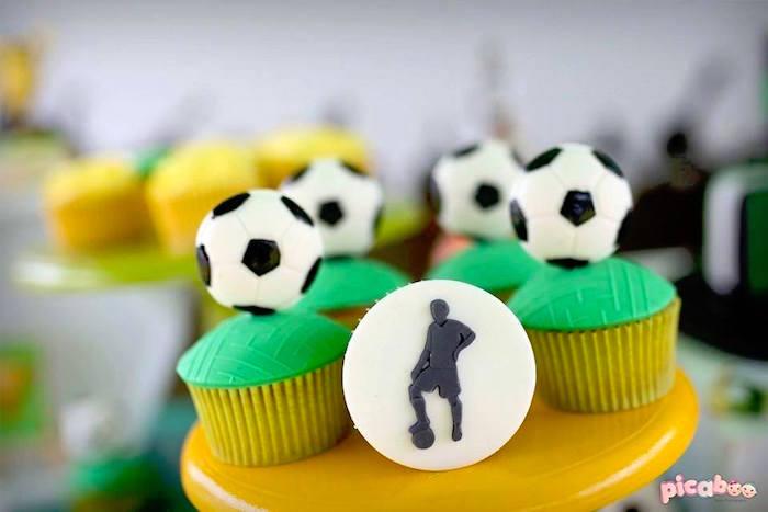 Soccer Cupcakes from a Soccer Birthday Party on Kara's Party Ideas | KarasPartyIdeas.com (6)