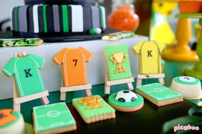 Soccer Cookies from a Soccer Birthday Party on Kara's Party Ideas | KarasPartyIdeas.com (4)