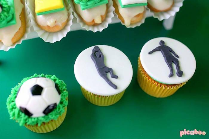 Soccer Cupcakes from a Soccer Birthday Party on Kara's Party Ideas | KarasPartyIdeas.com (17)