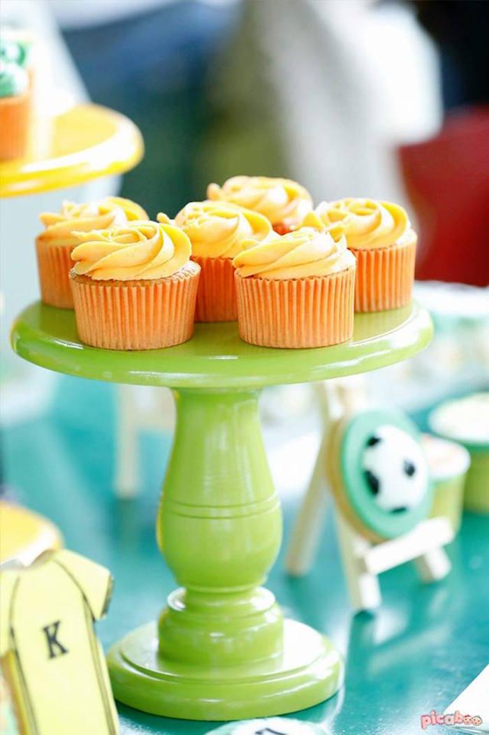 Cupcakes from a Soccer Birthday Party on Kara's Party Ideas | KarasPartyIdeas.com (15)