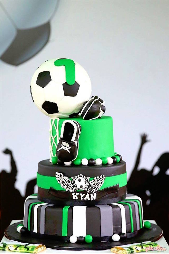 Soccer Cake from a Soccer Birthday Party on Kara's Party Ideas | KarasPartyIdeas.com (14)