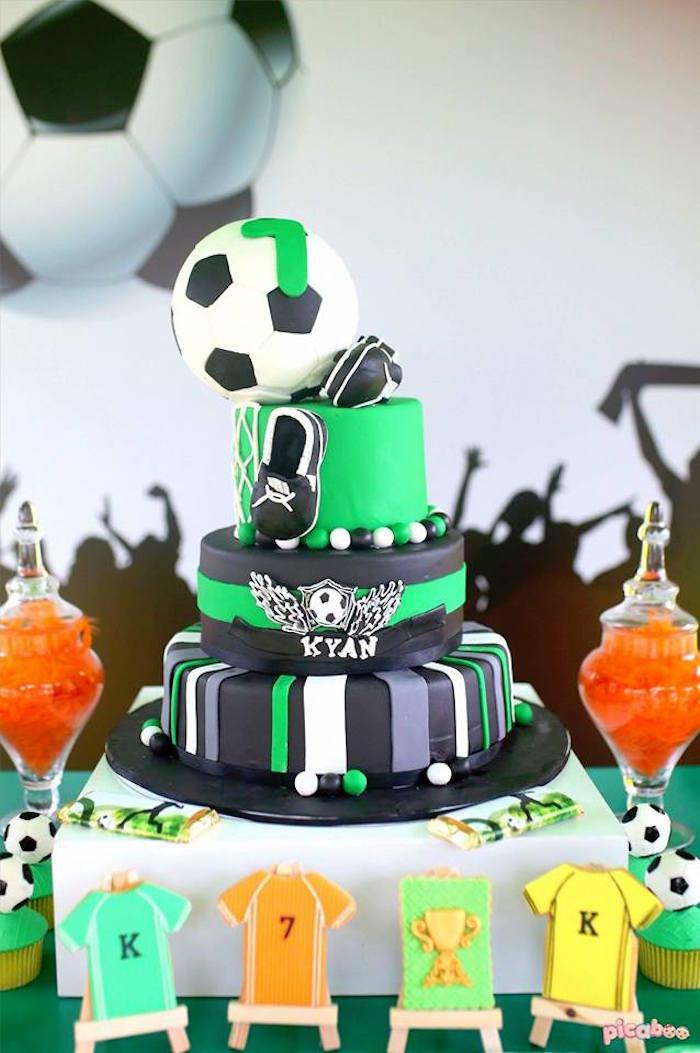Soccer Themed Cake from a Soccer Birthday Party on Kara's Party Ideas | KarasPartyIdeas.com (10)