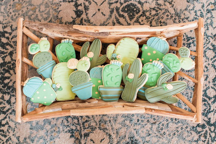 Cactus Cookies from a Southwestern Cactus Baby Shower on Kara's Party Ideas | KarasPartyIdeas.com (26)