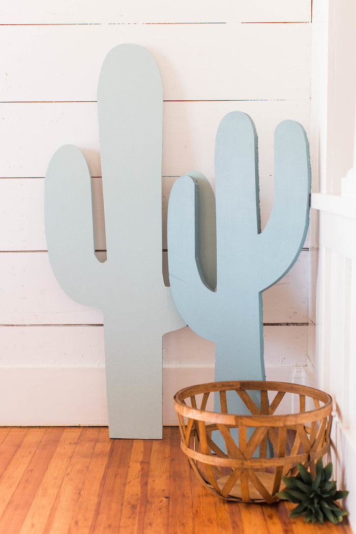 Cactus Standees from a Southwestern Cactus Baby Shower on Kara's Party Ideas | KarasPartyIdeas.com (23)
