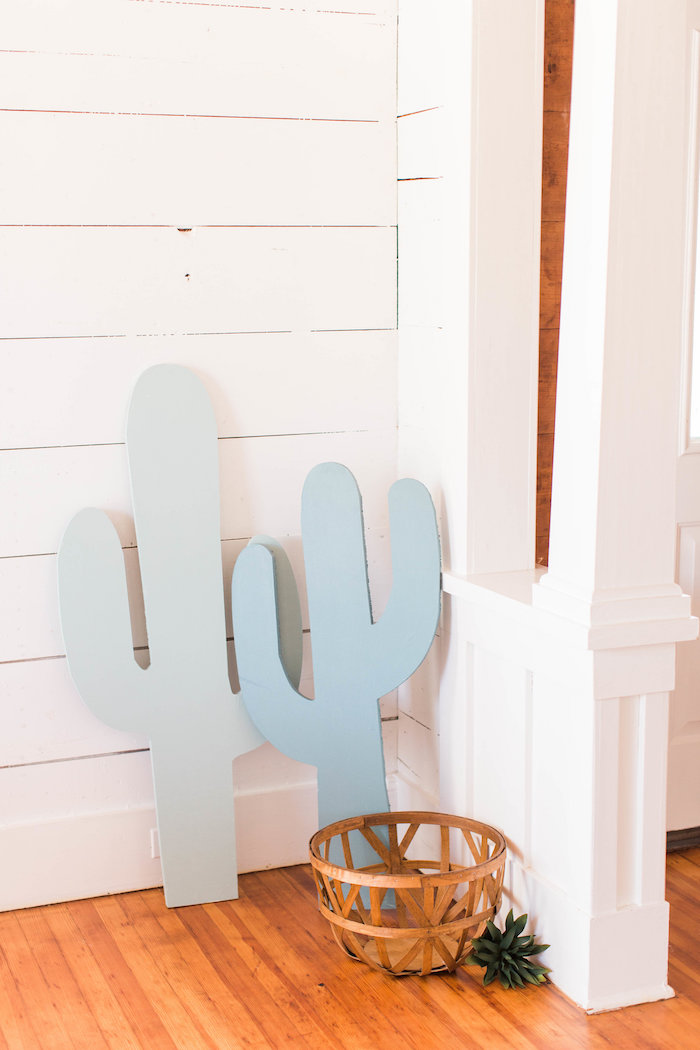 Wood Cactus Standees from a Southwestern Cactus Baby Shower on Kara's Party Ideas | KarasPartyIdeas.com (22)