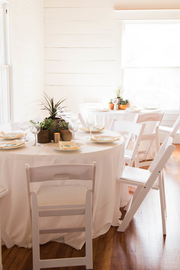 Bright White Guest Tables from a Southwestern Cactus Baby Shower on Kara's Party Ideas | KarasPartyIdeas.com (14)