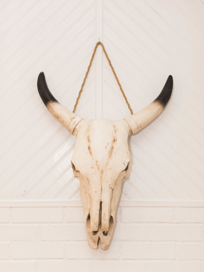 Animal Skull Wall Hanging from a Southwestern Cactus Baby Shower on Kara's Party Ideas | KarasPartyIdeas.com (11)