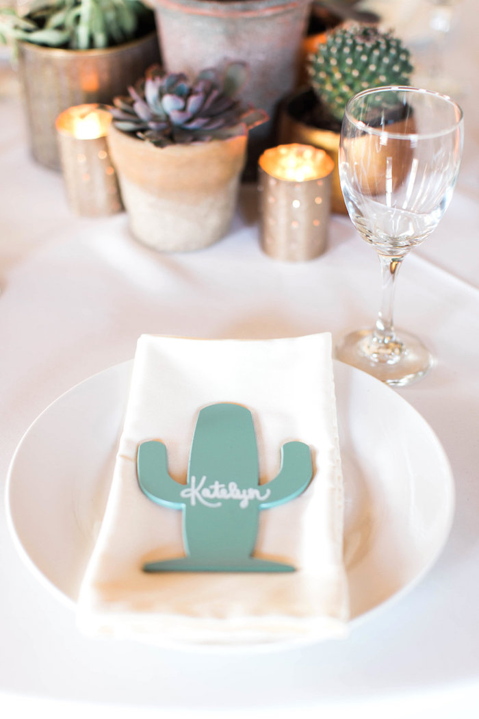 Personalized Cactus Table Setting from a Southwestern Cactus Baby Shower on Kara's Party Ideas | KarasPartyIdeas.com (35)