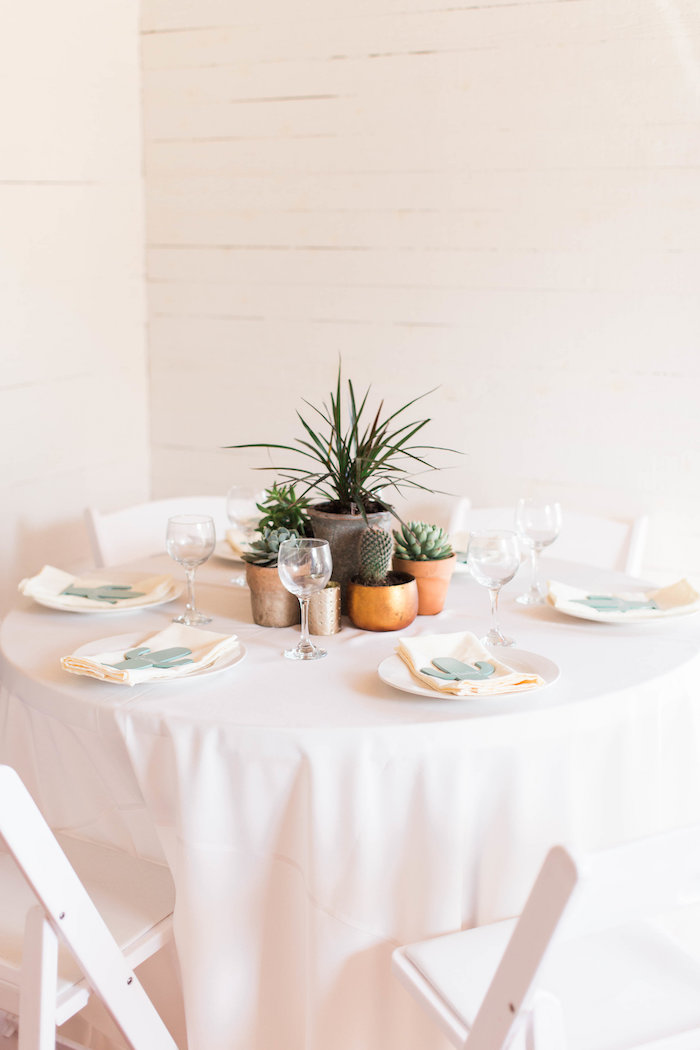 Cactus Themed Guest Table from a Southwestern Cactus Baby Shower on Kara's Party Ideas | KarasPartyIdeas.com (34)