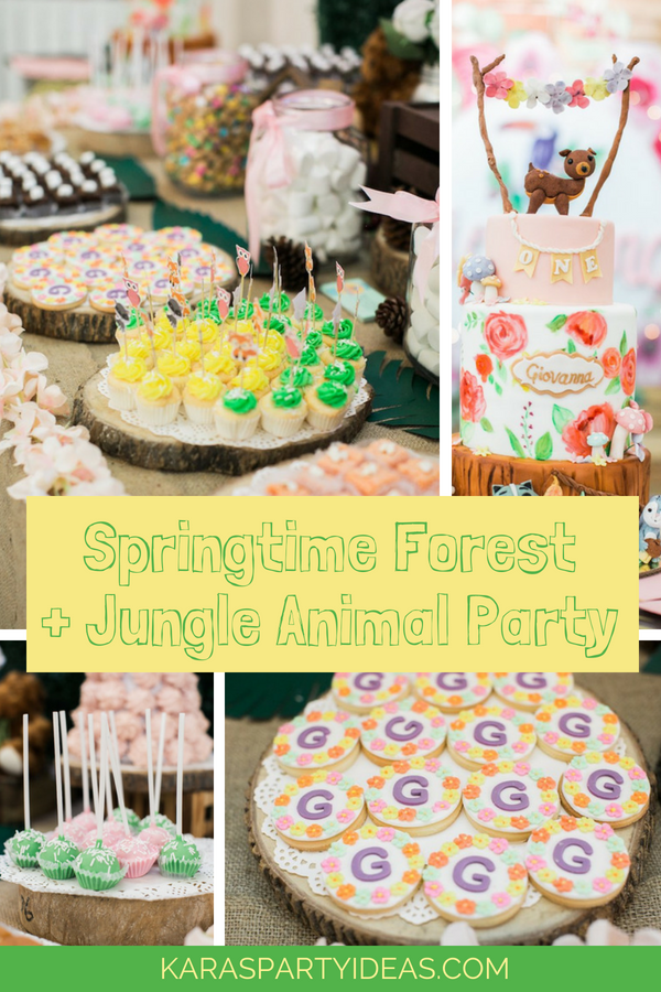 Springtime Forest + Jungle Animal Party via KarasPartyIdeas - KarasPartyIdeas.com