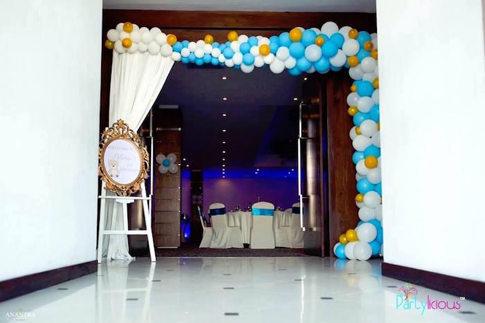 Balloon Arch from a Teddy Bear + Hot Air Balloon Birthday Party on Kara's Party Ideas   KarasPartyIdeas.com (18)