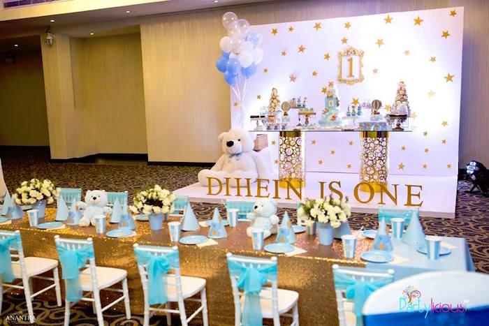 Gold Glam Party Tables from a Teddy Bear + Hot Air Balloon Birthday Party on Kara's Party Ideas   KarasPartyIdeas.com (17)