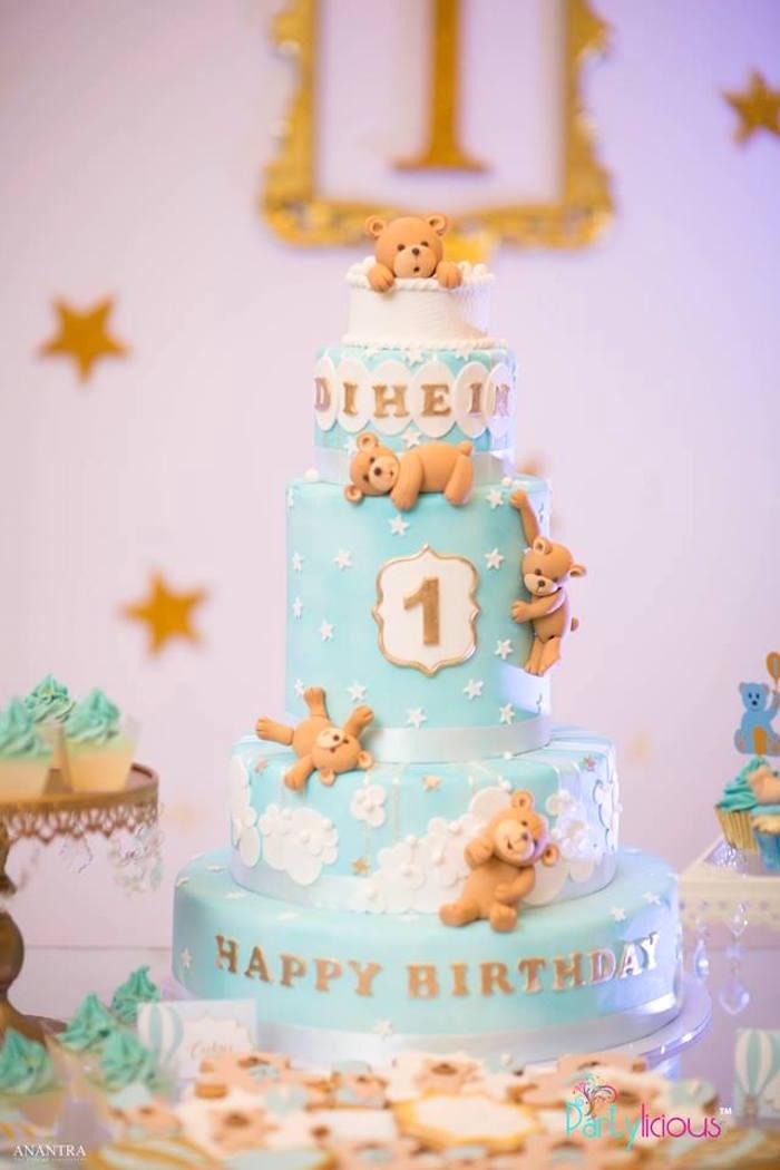 Teddy Bear Cake from a Teddy Bear + Hot Air Balloon Birthday Party on Kara's Party Ideas   KarasPartyIdeas.com (16)