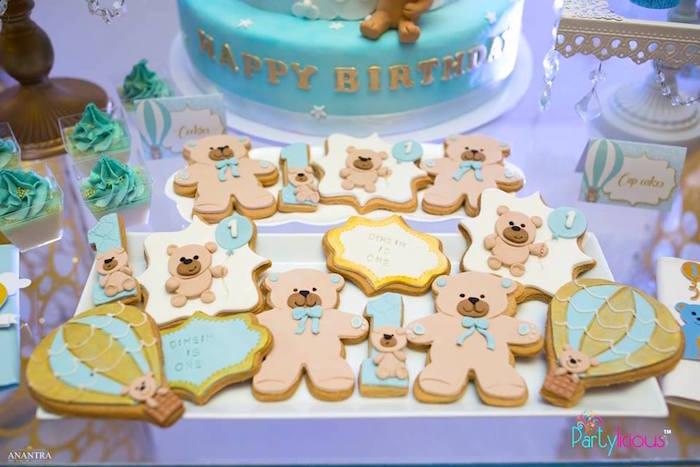 Teddy Bear Cookies from a Teddy Bear + Hot Air Balloon Birthday Party on Kara's Party Ideas   KarasPartyIdeas.com (14)