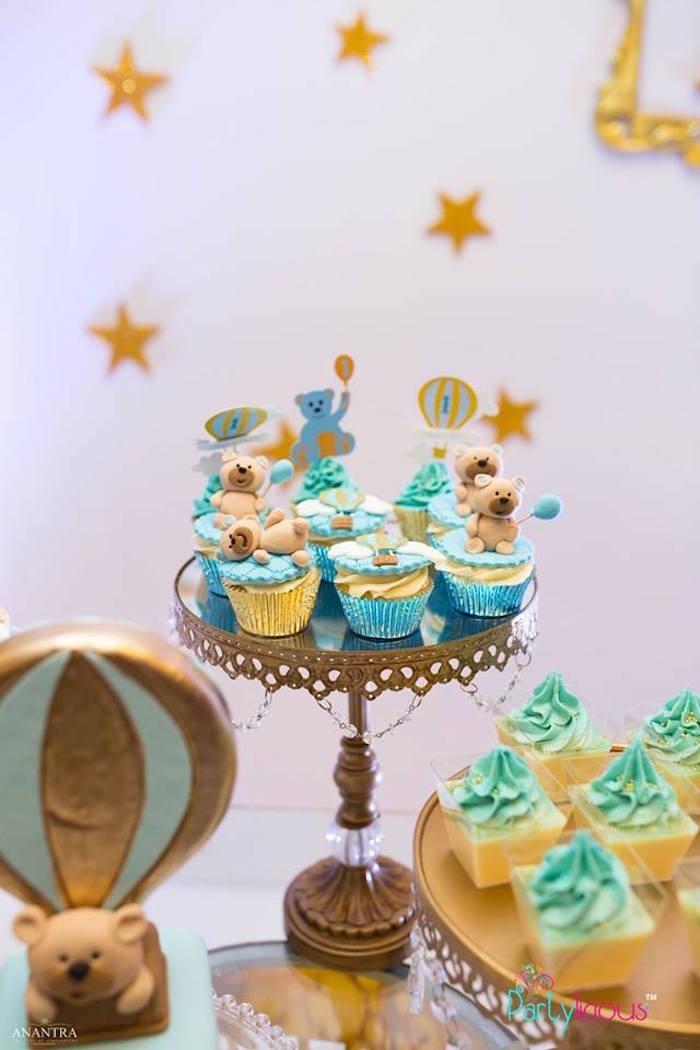 Cupcakes from a Teddy Bear + Hot Air Balloon Birthday Party on Kara's Party Ideas   KarasPartyIdeas.com (13)