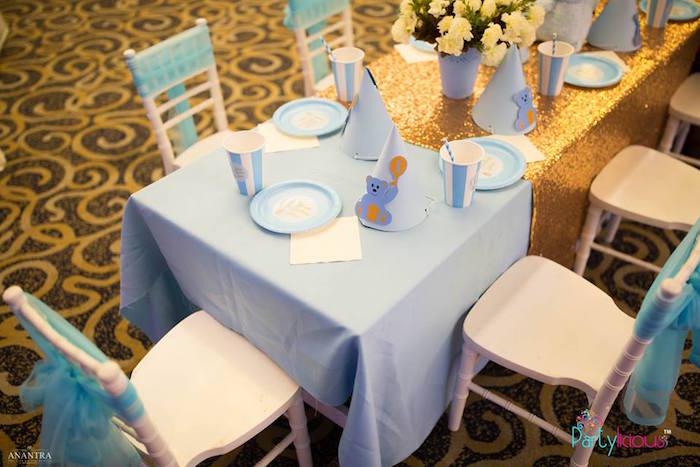 Teddy Bear Guest Table from a Teddy Bear + Hot Air Balloon Birthday Party on Kara's Party Ideas   KarasPartyIdeas.com (12)