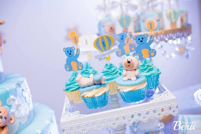 Cupcakes from a Teddy Bear + Hot Air Balloon Birthday Party on Kara's Party Ideas   KarasPartyIdeas.com (6)