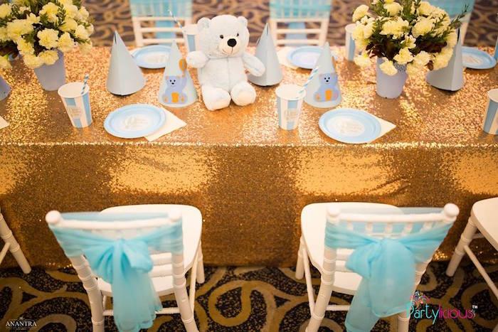 Gold Teddy Bear Guest Table from a Teddy Bear + Hot Air Balloon Birthday Party on Kara's Party Ideas   KarasPartyIdeas.com (26)