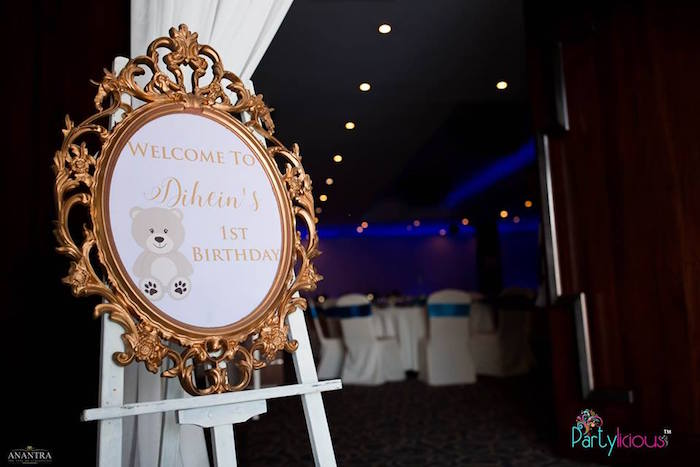 Gold Framed Teddy Bear Welcome Sign from a Teddy Bear + Hot Air Balloon Birthday Party on Kara's Party Ideas   KarasPartyIdeas.com (24)