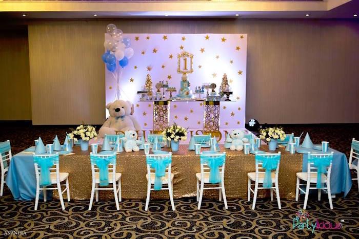Party Tables from a Teddy Bear + Hot Air Balloon Birthday Party on Kara's Party Ideas   KarasPartyIdeas.com (23)