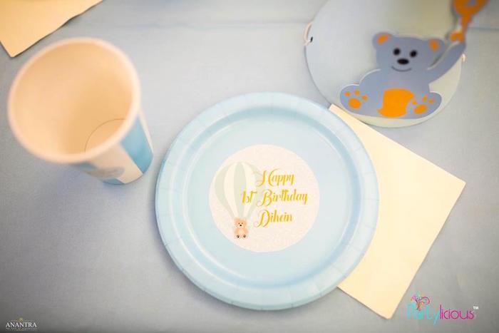 Teddy Bear Table Setting from a Teddy Bear + Hot Air Balloon Birthday Party on Kara's Party Ideas   KarasPartyIdeas.com (22)