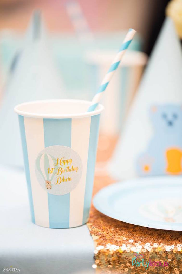 Striped Blue + White Paper Cup from a Teddy Bear + Hot Air Balloon Birthday Party on Kara's Party Ideas   KarasPartyIdeas.com (20)