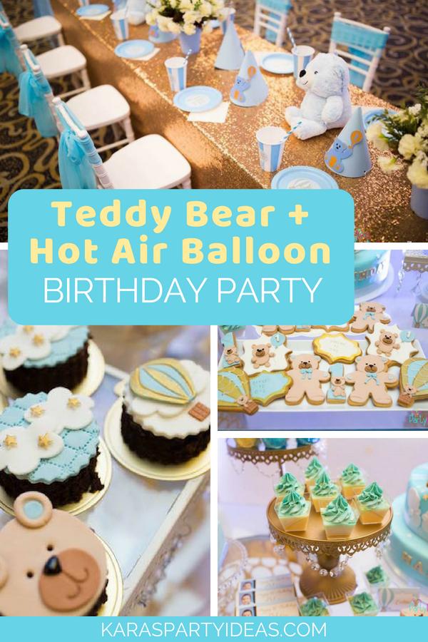 Teddy Bear + Hot Air Balloon Birthday Party via KarasPartyIdeas - KarasPartyIdeas.com