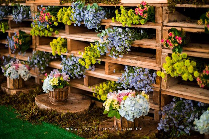 Flower-stuffed Pallet Board Table from a Tinkerbell Birthday Party on Kara's Party Ideas | KarasPartyIdeas.com (17)