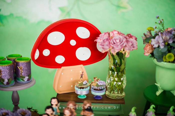 Toadstool Marquee from a Tinkerbell Birthday Party on Kara's Party Ideas | KarasPartyIdeas.com (38)