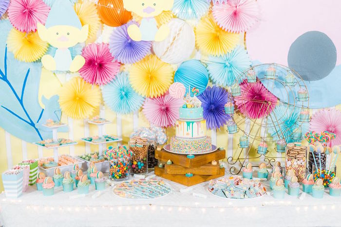 Cake + Candy Table from a Trolls Happy Place Birthday Party on Kara's Party Ideas | KarasPartyIdeas.com (19)