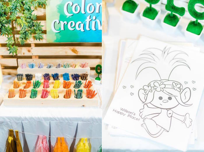 Coloring Station from a Trolls Happy Place Birthday Party on Kara's Party Ideas | KarasPartyIdeas.com (17)