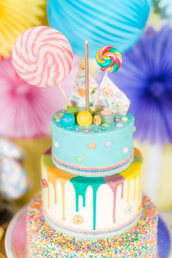 Candy Drip Cake from a Trolls Happy Place Birthday Party on Kara's Party Ideas | KarasPartyIdeas.com (14)