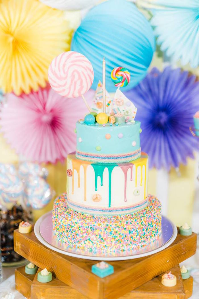 Candy Drip Cake from a Trolls Happy Place Birthday Party on Kara's Party Ideas | KarasPartyIdeas.com (6)