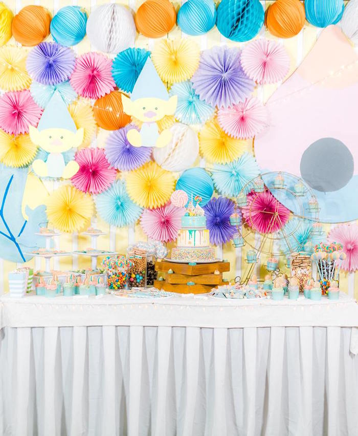 Colorful Dessert Table from a Trolls Happy Place Birthday Party on Kara's Party Ideas | KarasPartyIdeas.com (5)