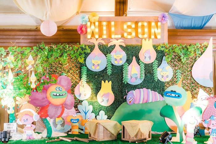 Trolls Backdrop from a Trolls Happy Place Birthday Party on Kara's Party Ideas | KarasPartyIdeas.com (4)