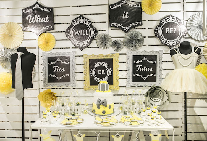 Dessert Table from a Tutus or Ties? Gender Reveal Party on Kara's Part Ideas | KarasPartyIdeas.com (11)