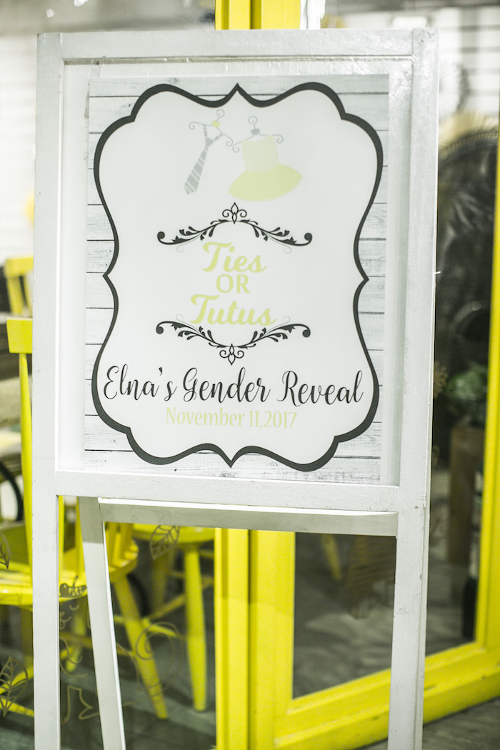 Signage from a Tutus or Ties? Gender Reveal Party on Kara's Part Ideas | KarasPartyIdeas.com (23)