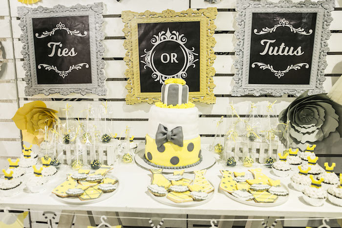 Dessert Table from a Tutus or Ties? Gender Reveal Party on Kara's Part Ideas | KarasPartyIdeas.com (19)