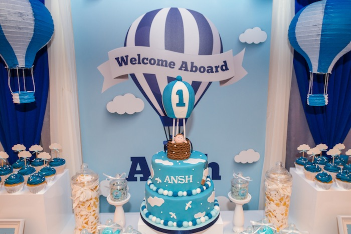Hot Air Balloon Cakescape from an Up Up and Away Birthday Party on Kara's Party Ideas | KarasPartyIdeas.com (9)