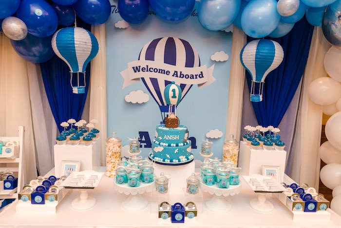 Hot Air Balloon Party Table from an Up Up and Away Birthday Party on Kara's Party Ideas | KarasPartyIdeas.com (8)