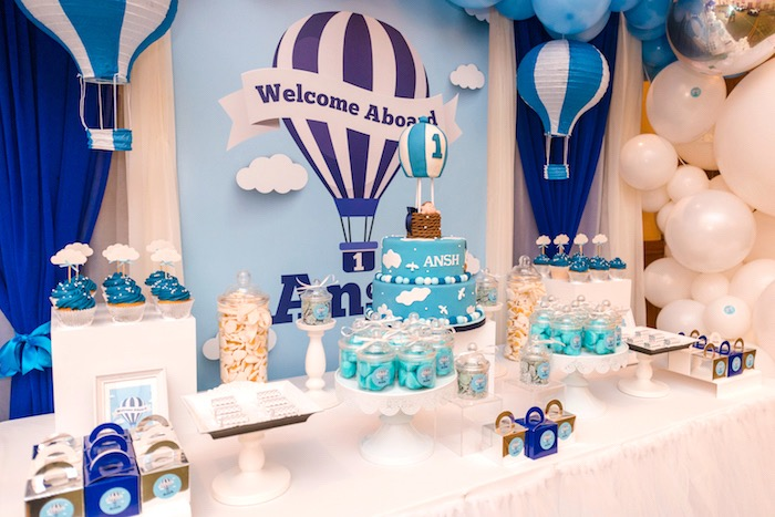 Hot Air Balloon Sweet Table from an Up Up and Away Birthday Party on Kara's Party Ideas | KarasPartyIdeas.com (6)