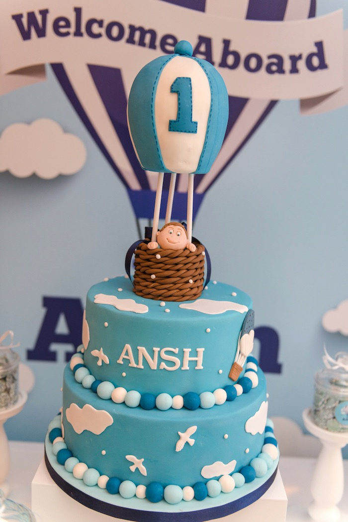 Hot Air Balloon cake from an Up Up and Away Birthday Party on Kara's Party Ideas | KarasPartyIdeas.com (5)