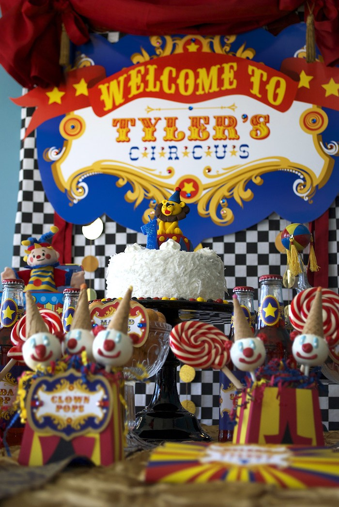 Circus Themed Cake Table from a Vintage Luxe Circus Birthday Party on Kara's Party Ideas | KarasPartyIdeas.com (18)