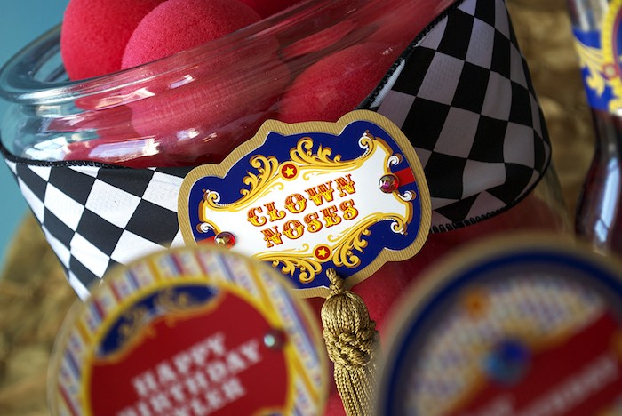 Clown Noses from a Vintage Luxe Circus Birthday Party on Kara's Party Ideas | KarasPartyIdeas.com (12)