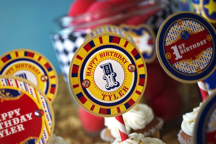Circus Cupcakes Toppers from a Vintage Luxe Circus Birthday Party on Kara's Party Ideas | KarasPartyIdeas.com (11)