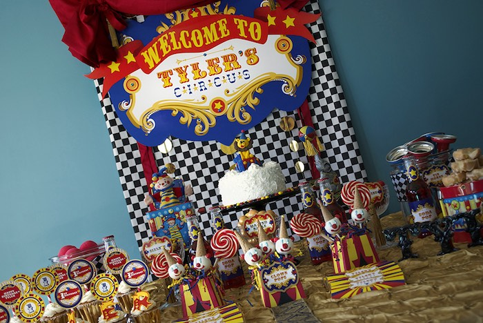 Circus Themed Dessert Table from a Vintage Luxe Circus Birthday Party on Kara's Party Ideas | KarasPartyIdeas.com (10)